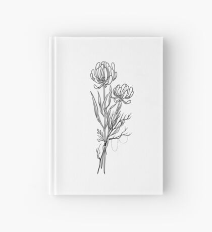 Flowers Lineart Tattoo Style // Black and White Hardcover Journal