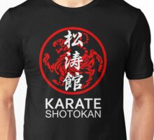 Shotokan Karate Symbol and Kanji White Text Unisex T-Shirt