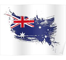 Australia Flag Brush Splatter Poster