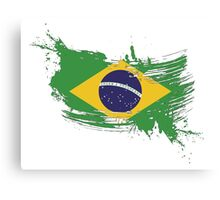 Brazil Flag Brush Splatter Canvas Print