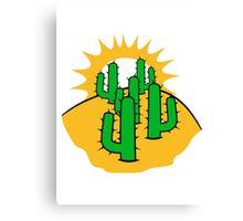 mountain hill dune sun sunset sunrise sand many kakten pattern small cactus, desert soil Canvas Print