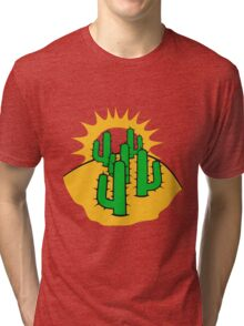 mountain hill dune sun sunset sunrise sand many kakten pattern small cactus, desert soil Tri-blend T-Shirt