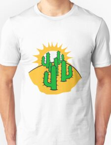 mountain hill dune sun sunset sunrise sand many kakten pattern small cactus, desert soil Unisex T-Shirt