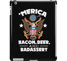 Merica The Pursuit of Bacon, Beer, & Badassery. iPad Case/Skin