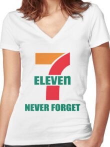 7 Eleven Never Forget Women's Fitted V-Neck T-Shirt