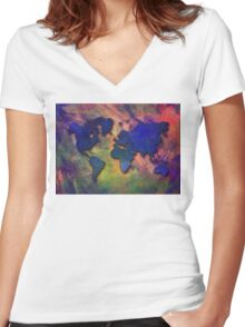 World map special 5 Women's Fitted V-Neck T-Shirt