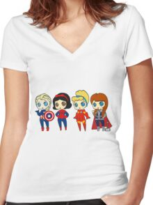 SUPERHERO PRINCESSES Women's Fitted V-Neck T-Shirt