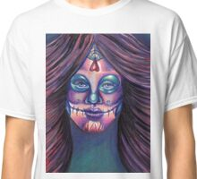 Serenity-Mixed Media Drawing of a Day of the Dead Girl Classic T-Shirt