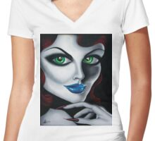 Harlow - my illustrative painting Women's Fitted V-Neck T-Shirt