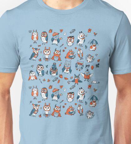Little owlets pattern blue Unisex T-Shirt