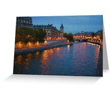 Impressions of Paris - Seine River at Night Greeting Card