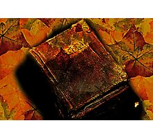 Still Life Books And  Autumn Leaves Photographic Print
