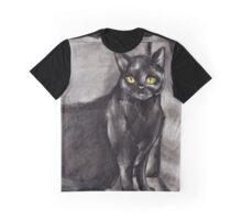 Black Cat on Stairs Graphic T-Shirt