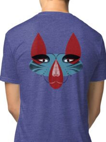 Coyote the Trickster in red, black and white Tri-blend T-Shirt