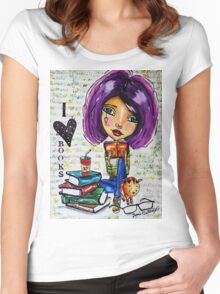 I Love Books 2 Women's Fitted Scoop T-Shirt