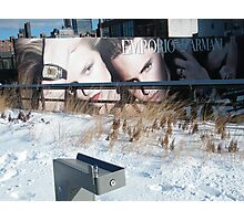 NY January High Line in Snow, New York's Elevated Garden and Walking Path Photographic Print