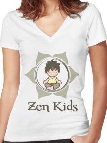 禪 Zen kids Women's Fitted V-Neck T-Shirt