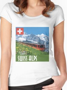 Vintage Travel Poster Swiss Alps Women's Fitted Scoop T-Shirt
