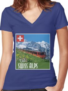 Vintage Travel Poster Swiss Alps Women's Fitted V-Neck T-Shirt