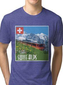 Vintage Travel Poster Swiss Alps Tri-blend T-Shirt