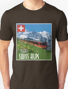 Vintage Travel Poster Swiss Alps Unisex T-Shirt