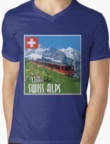 Vintage Travel Poster Swiss Alps Mens V-Neck T-Shirt