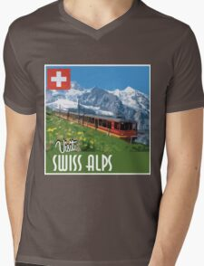 Vintage Travel Poster Swiss Alps Mens V-Neck T-Shirt