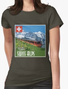 Vintage Travel Poster Swiss Alps Womens Fitted T-Shirt