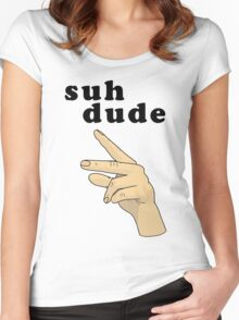 Suh Dude meme | Black Letters Women's Fitted Scoop T-Shirt