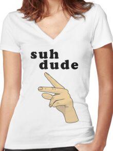 Suh Dude meme | Black Letters Women's Fitted V-Neck T-Shirt