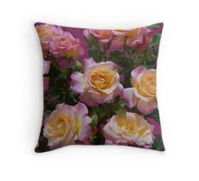 Roses yellow and pink arrangement. Throw Pillow