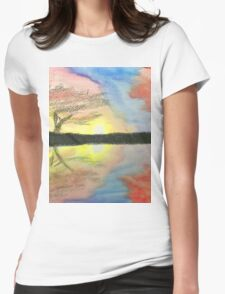 Sunset- Tree Womens Fitted T-Shirt