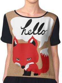 The Fox Says Hello Chiffon Top