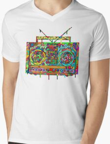 Boom Box Mens V-Neck T-Shirt