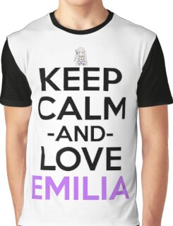 Keep Calm And Love Emilia Anime Shirt Graphic T-Shirt