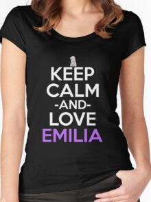 Keep Calm And Love Emilia Anime Shirt Women's Fitted Scoop T-Shirt