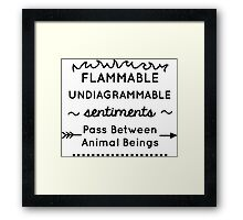 Flammable Undiagrammable Framed Print