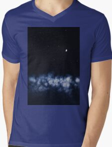 Contrail moon on a night sky Mens V-Neck T-Shirt