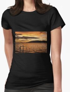Golden Sunset with Broken Down Pier, Kota Kinabalu Womens Fitted T-Shirt