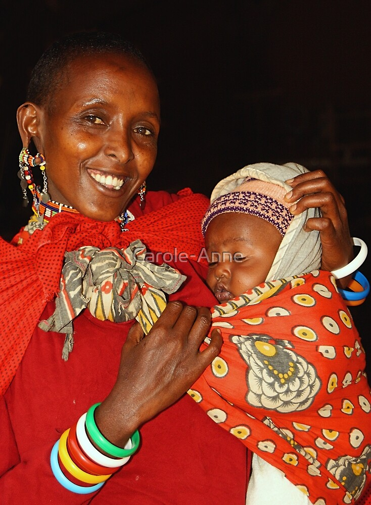 Proud. Mother & Child, Maasai (or Masai) East Africa  by Carole-Anne