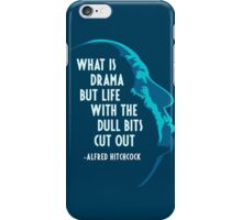 Alfred Hitchcock Quote (Blue) iPhone Case/Skin