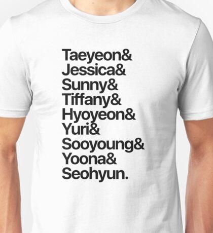 Girls' Generation (OT9-black text) Unisex T-Shirt