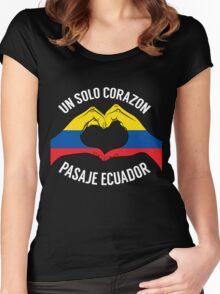 Ecuador - Un Solo Corazon2 Black Women's Fitted Scoop T-Shirt