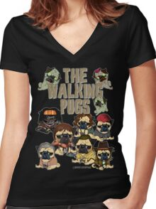 The Walking Pugs Women's Fitted V-Neck T-Shirt