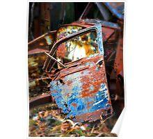 Rusted old car door abandoned in scrap yard Poster