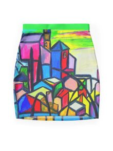 Rainbow Houses Mini Skirt