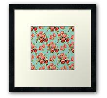 Vintage Rose Flower Pattern Framed Print