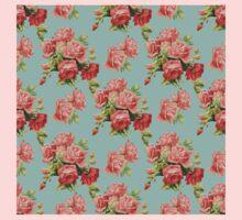 Vintage Rose Flower Pattern One Piece - Short Sleeve