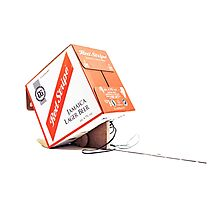 Red Stripe Trapped Box Photographic Print