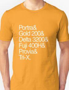 Helvetica Film Stock White Unisex T-Shirt